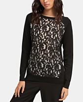 407da3d8486 DKNY Long-Sleeve Crewneck Lace Pullover Sweater