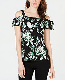I.N.C. Petite Tie-Sleeve Cold-Shoulder Top, Created for Macy's