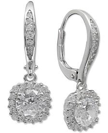 Giani Bernini Cubic Zirconia Halo Drop Earrings in Sterling Silver, Created for Macy's