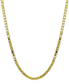 """Box Link 18"""" Chain Necklace in 18k Gold-Plated Sterling Silver, Created for Macy's"""