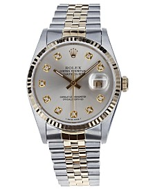 Pre-Owned Rolex Men's Swiss Automatic Two-Tone Datejust Jubilee 18K Yellow Gold & Stainless Steel Bracelet Watch, 36mm
