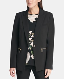 DKNY Zipper-Pocket Peak-Lapel Jacket