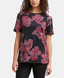 DKNY Floral-Print Sequined Top
