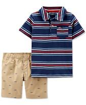 24c769775 Carter's Toddler Boys 2-Pc. Striped Cotton Polo & Shorts Set