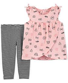 Carter's Baby Girls 2-Pc Printed Tunic & Striped Leggings Set