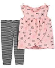 2b1f63ec4197 Carter's Baby Girls 2-Pc Printed Tunic & Striped Leggings Set