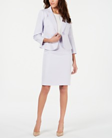 Le Suit One-Button Peak Collar Skirt Suit
