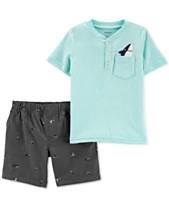 Carters Toddler Boys 2 Pc Cotton Henley T Shirt Shorts Set