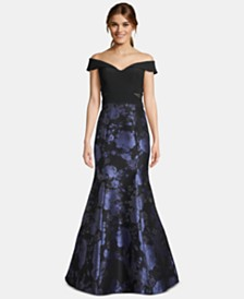 XSCAPE Petite Off-The-Shoulder Metallic-Print Gown