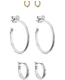 Lucky Brand Two-Tone 3-Pc. Set Hoop & Stud Earrings, Created for Macy's