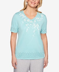 Alfred Dunner Versailles Embroidered Eyelet-Trim Sweater