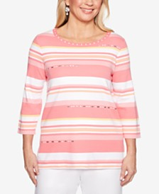 Alfred Dunner Smooth Sailing Striped Embellished Top