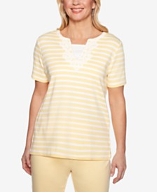 Alfred Dunner Endless Weekend Lace Appliqué Striped Top