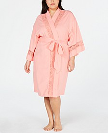 Plus-Size Embroidered Lace Knit Robe, Created for Macy's