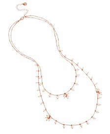 BCBGeneration Pearl Rose Gold Double Row Layered Long Necklace