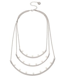 Pearl Silver Multi Row Curved Bar Frontal Necklace