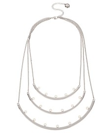 BCBGeneration Pearl Silver Multi Row Curved Bar Frontal Necklace