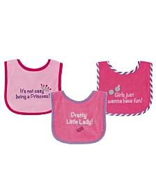 Luvable Friends Drooler Bibs with Waterproof Back, 3-Pack, Girls, One Size