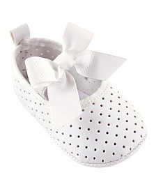 Luvable Friends Mary Jane Bow Slip on Shoes, White Bow, 0-18 Months