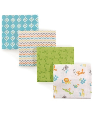 Luvable Friends Babies' Flannel Receiving Blankets, 4-pack, One Size In Multi