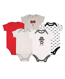 Hudson Baby Bodysuits, 5-Pack, 0-24 Months