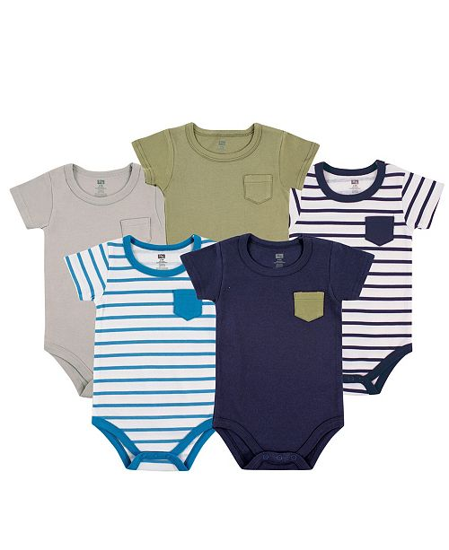 Hudson Baby Bodysuits, 5-Pack, Blue and Olive, 0-24 Months