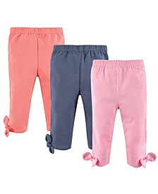 Baby Leggings with Knotted Ankle Bows, 3-Pack, 0-24 Months