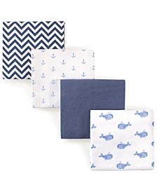 Flannel Receiving Blankets, 4-Pack, Blue Whales, One Size
