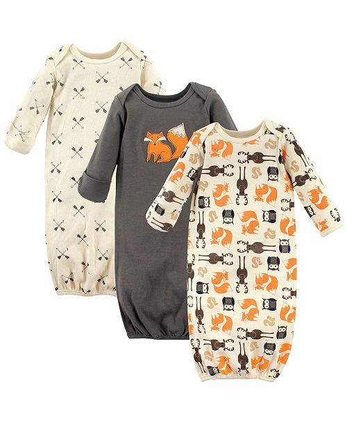 Hudson Baby Sleep Gowns, 3-Pack, 0-6 Months