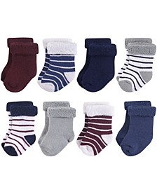 Terry Roll Cuff Socks, 8-Pack, 0-24 Months
