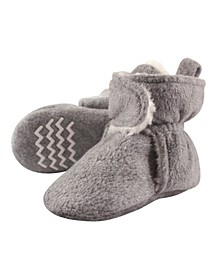 Sherpa Lined Scooties with Non Skid Bottom, Heather Gray, 0-24 Months
