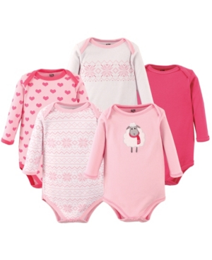Hudson Baby Kids' Boys And Girls Fire Truck Long-sleeve Bodysuits, Pack Of 5 In Pink