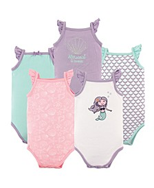 Baby Girls Mermaid Sleeveless Bodysuits, Pack of 5