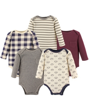 Hudson Baby Babies' Boys And Girls Fire Truck Long-sleeve Bodysuits, Pack Of 5 In Football