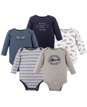 Hudson Baby Kids' Boys And Girls Fire Truck Long-sleeve Bodysuits, Pack Of 5 In Multi