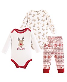 Hudson Baby Bodysuits and Pant, 3-Piece Set, 0-24 Months