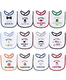 Hudson Baby Festive Holiday Bibs, 12-Pack, One Size