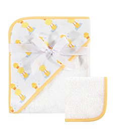 Hudson Baby Woven Hooded Towel and Washcloths Set, One Size