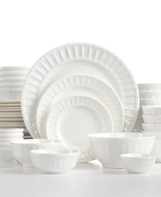Gibson White Elements Paloma Embossed 42-Piece Set Service for 6 - Dinnerware - Dining u0026 Entertaining - Macyu0027s  sc 1 st  Macyu0027s : gibson dinnerware white - Pezcame.Com
