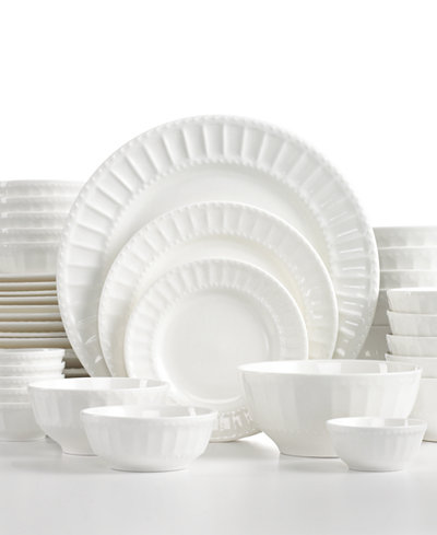 White Elements Paloma Embossed 42-Piece Set, Service for 6