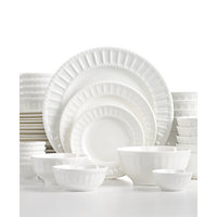 White Elements Paloma Embossed 42-Piece Dinnerware Set, Service for 6 (White)