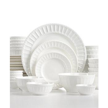 White Elements Paloma Embossed 42-Piece Dinnerware Set (White)