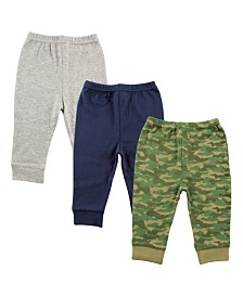 Luvable Friends Tapered Ankle Pants, 3-Pack, Camo, 2T-5T