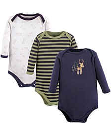 Baby Boys and Girls Deer Long-Sleeve Bodysuits, Pack of 3