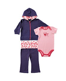 Yoga Sprout Hoodie, Bodysuits and Pants, 3-Piece Set, 0-24 Months