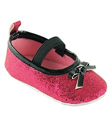 Luvable Friends Mary Jane Crib Shoes, Sparkly Pink, 12-18 Months