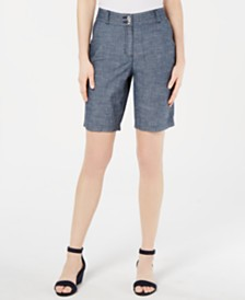 Karen Scott Cotton Chambray Shorts, Created for Macy's