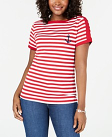 Karen Scott Striped Anchor Embroidered Top, Created for Macy's