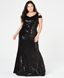 Calvin Klein Plus Size Sequined Cold-Shoulder Gown