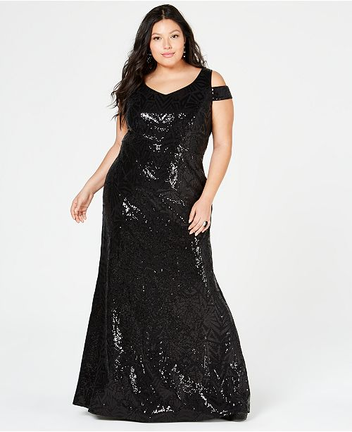 Calvin Klein Plus Size Sequined Cold-Shoulder Gown ...